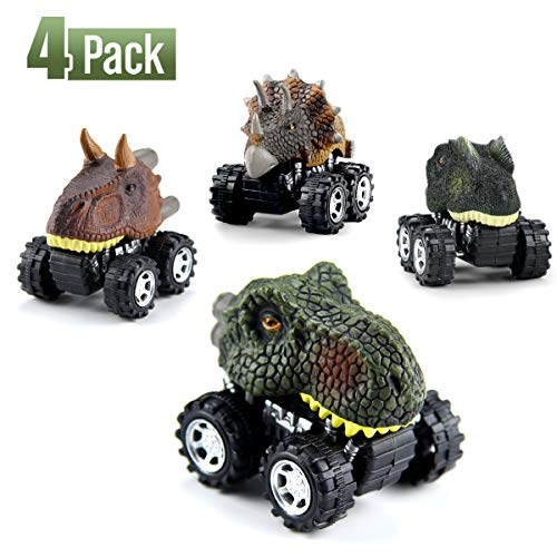 WEARXI Dinosaurier Spielzeug Geschenke Dinosaurier Auto Jurassic World ziehen Autos zurück - Geschenke Junge Dinosaurier Spielzeug ab 3 Jahren Junge, Spielzeug für Kinder - 4Pack