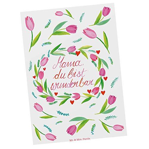 Mr. & Mrs. Panda Karte, Einladung, Postkarte Mama Tulpen mit Spruch - Farbe