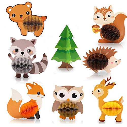 N\A 8 Pcs Woodland Animals Honeycomb Centerpieces 3D Table Decorations Woodland Party Supplies Forest Animal Birthday Decoration for Kids Birthday Party Supplies