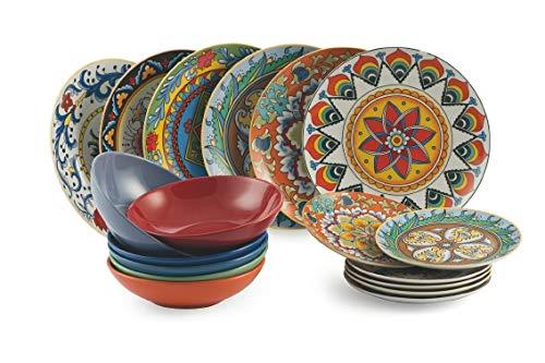 Villa d'Este Home Tivoli 2414107 Renaissance TAVOLA 18 PZ, Porcellana + Gres