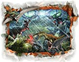 BumbleBee 3D Dinosaurier Motiven Wandtattoo Wandaufkleber Schälen und Kleben für Kinder Wohnzimmer Schlafzimmer Jungen Mädchen 70x55cm