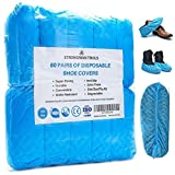 Strongman Tools | 120 Pack (60 Pairs) | Premium Extra Thick Disposable Shoe & Boot Covers | Durable & Water Resistant Booties | Anti-Slip | One Size Fits Most