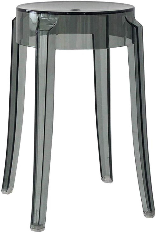 HLJ Home Chair Creative High Stool Leisure Plastic Stool Transparent Dining Chair Bar Stool Stylish Restaurant Stool (Size   S 26  26  46cm)