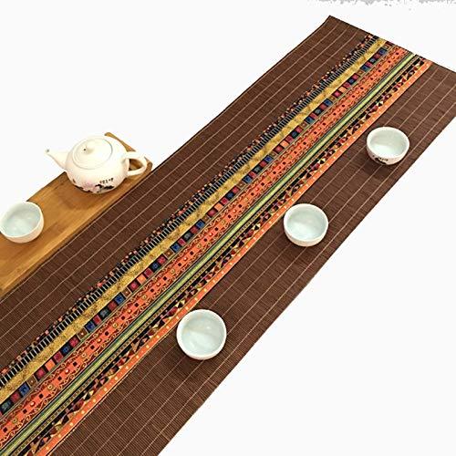 TTOOY Camino de Mesa de bambú Hecho a Mano Tradicional de Estilo étnico, tapete de té japonés para Fiestas de Mesa de café, Mantel Individual Lavable Antideslizante con Aislamiento térmi