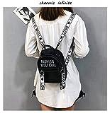 El Nuevo Huafeng PU Bolsa Mini Bolso la Mujer Bolsa de Moda Backpackage Alfabeto Bolsa (Negro) (Color : Black)