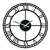 FLEXISTYLE Reloj de Pared Vintage de Metal, Negro, 50 cm, salón, Dormitorio