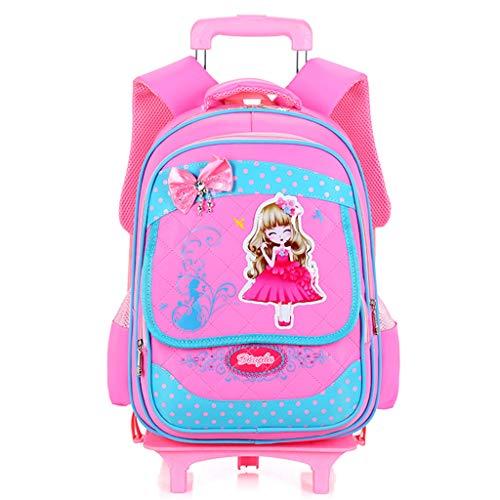 YeMao Ragazze Bowknot Principessa Style Zaino Impermeabile con Le Ruote dei carrelli Sacchetti di Scuola Zaini per la Scuola per Bambini di Rolling Backpack,Pink-31 * 22 * 42cm