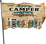 Viplili Flagge/Fahne, Happy Camper Car Fahnen Flaggen Durable Fade Resistant Decorative Flags Premium Flag with Grommets Polyester Deluxe Outdoor Banner for All Seasons & Holidays- 3X5 Ft