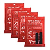 Fire Blanket Fire Guardian Blanket and Fire Blanket Fire Suppression Blankets for Kitchen, Bedroom, People- Energency Safety (40'x40') (White (4 Pack))