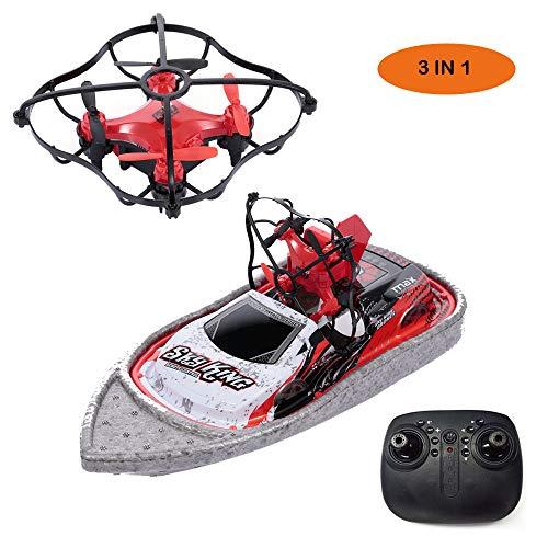 GoolRC- 3 en 1 Barco Drone Coche Mar Aire Modo Terrestre Modo 3 Altitud Mantener sin Cabeza Modo RC Barco Quadcopter Drone RTF