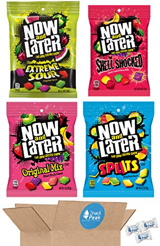 Now and Later Snack Peak Variety Gift Box – Shell Shocked Mixed Fruit, Splits, Extreme Sour, and Original