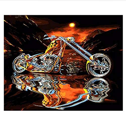 Waofe Motorrad-Diy Ölgemälde, Malen Nach Zahlen-Kit, Diy Acrylbild Für Kinder Und Erwachsene, Moderne Wandbilder Bild 16X20 Zoll, 40X50 Cm, Mit Rahmen