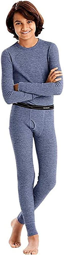 Hanes - Boy's X-Temp Ultimate Thermal Underwear Set, Heathered Blue 41070-X-Small