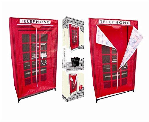 In tessuto Non tessuto, motivo con cabina telefonica, armadio, mobiletto per appendere