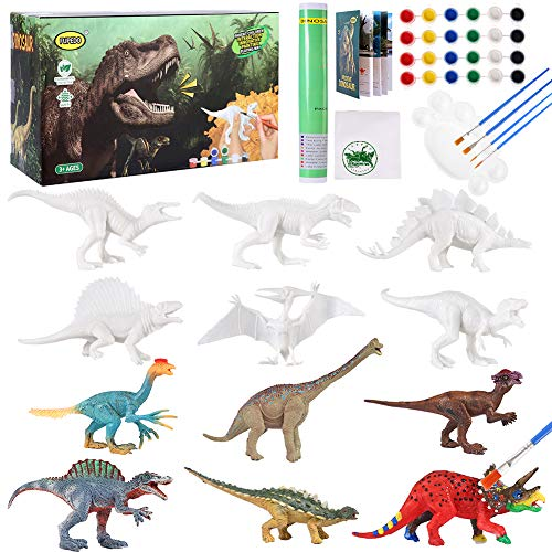 FUPEDO Dinosaur Painting Kit for Kids, 12pcs Dinosaur Toys Set Art and Craft Dinosaur...
