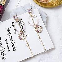 Row&ling新ファッション高級ピンクシャイニーラインストーンロングちょう結び房ドロップイヤリング韓国バロック様式の女性 Pendientes ジュエリー イヤリング レディース