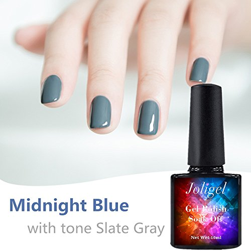 Vernis à ongles Joligel - 10 ml - Vernis gel semi-permanent pour manucure et pédicure - UV LED - Soak off - Résine sans danger et sans odeur - Couleur bleu nuit à ton gris ardoise pour l'hiver