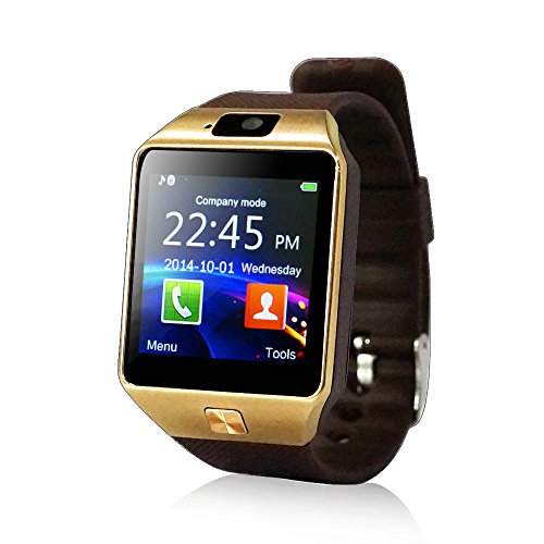 yuntab smartwatch YUNTAB fitness dell involucro del polso orologio cellulare Touch Screen Fotocamera per iPhone (Marrone)