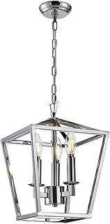 Cage Pendant Light Lantern Iron Art Design 3-Heads Candle-Style Chandelier Ceiling Light Fixture for Hallway Kitchen Dinni...