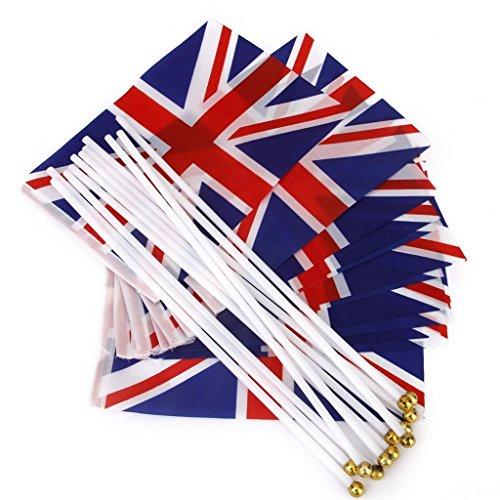 Amyjazz Handfahnen, Motiv: Union Jack, Kunststoffstangen (12 Stück)