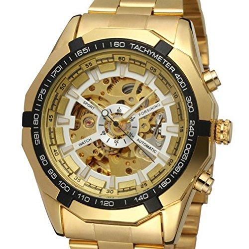 Preisvergleich Produktbild PIXNOR Mechanische Automatik Quarz-Armbanduhr Skelett Herren-Armbanduhr Edelstahlband
