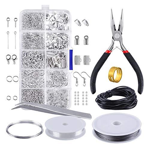 VGY Conjunto de hallazgos de joyería Joyería Making Kit Hallazgos Hallazgos Starter Kit Joyas Gallering Fabricación y reparación Herramientas Kit Alicates Plateado (Color : Silver)