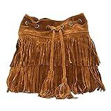 Sun Kea Womens Bucket Hippie Suede Cross Body Bag Vintage Tassel Shoulder Sling Bag Satchel (B-Coffee)