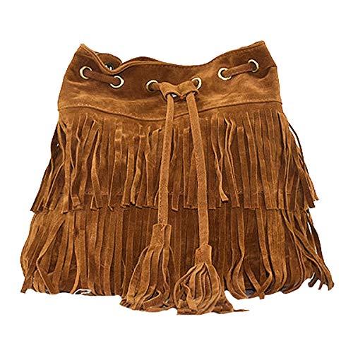 Heidi Women's Fringed Bucket Purse Tassel Faux Suede Shoulder Bag Ring Top-Handle Crossbody Bag (brown)