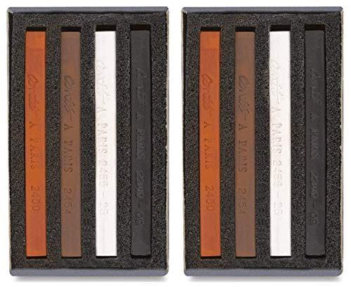 2-Pack Bundle of Conté à Paris Sketching Carré Crayons - 4-Color Assortment Each - (2 of Each Color - Sanguine, Bistre, Black and White 2B)