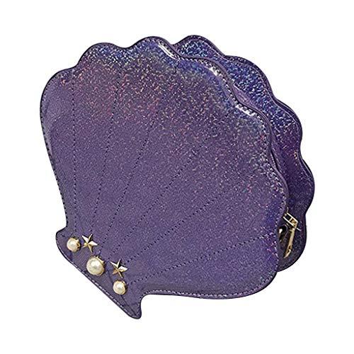 UYT - Borsa a tracolla diagonale piccola e carina alla moda, leggera a forma di conchiglia Viola