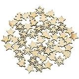 CAILI 100 Stücke Holzsterne Holzscheiben Baumscheiben Naturholzscheiben für Weihnachtsbaum Anhänger