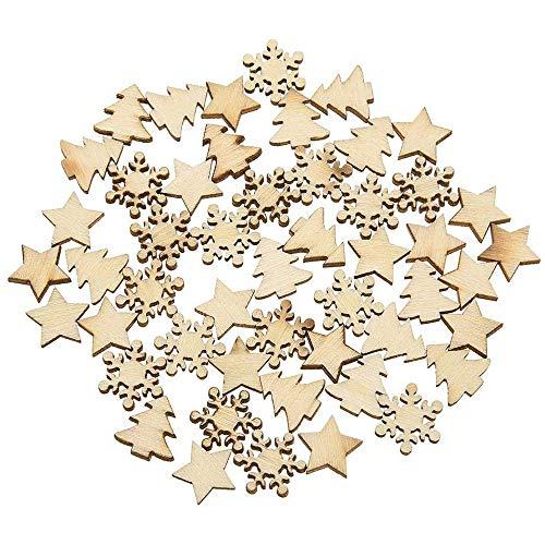 100 Pezzi legno albero fiocchi di neve stelle decorazioni da tavola albero di natale appendere ciondolo per artigianato fai-da-te, decorazioni per feste natalizie