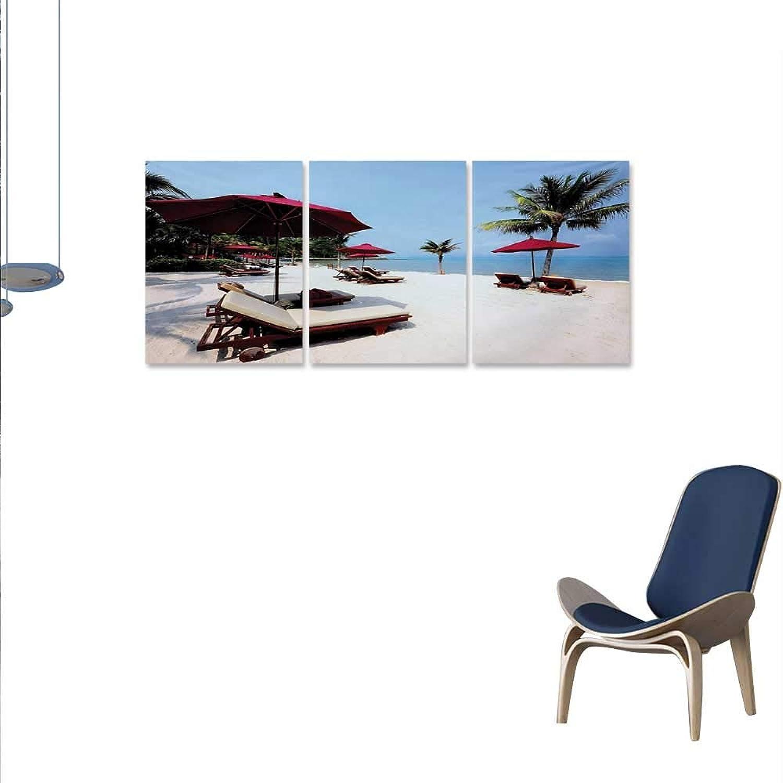 Seaside Canvas Wall Art Bedroom Home Decorations Beach Chair Umbrella Palm Trees Vacation Resort Sand Summer Sky Artwork Wall Decor 16 x32 x3pcs Maroon Pale bluee Ivory