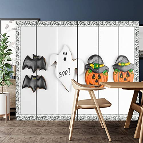 Canvas Room Divider Screen Privacy Partition - Halloween Gingerbread Cookie Isolated on White Window Style Room Separator for Home Office Bathroom Pool 6 Panel