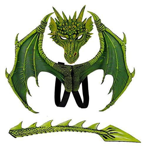 H&ZY Kids Fantasy Halloween Dinosaurio Dragon Costume Child Animal Mask Wing Tail Accessory
