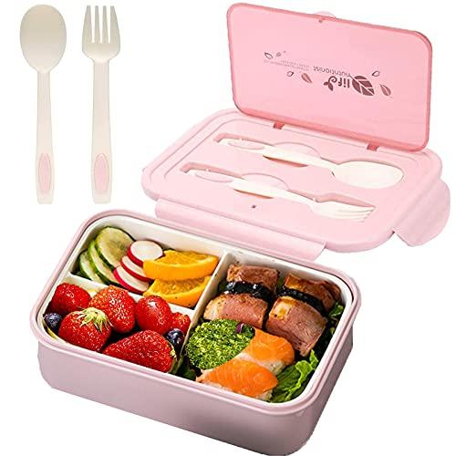 Tuofang Porta Pranzo, Scatola Bento per Bambini, Kids Bento Box con 3 Scomparti, Lunch Box con Posate(Forchetta e Cucchiaio), sSnza BPA, Sicuri per Microonde e Lavastoviglie (1400ml ) (Rosa)
