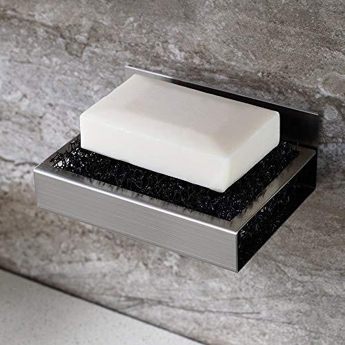 Guizen Jabonera de pared de ducha de acero inoxidable con adhesivo de esponja antioxidante para cocina, baño, viaje