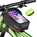 Gifts for Men Dad, Bike Frame Bag Handlebar Bag, Waterproof Cycling Top Tube Bag Bicycle Accessories Storage Pouch Bag, Best Gifts Ideas for Him, Phone Case Holder with Touch Screen Under 6.5''