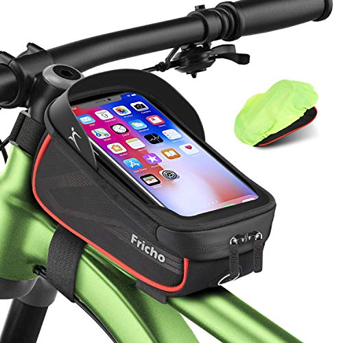 Easter Gifts for Men Dad, Bike Frame Bag Handlebar Bag, Waterproof Cycling Top Tube Bag Bicycle Accessories Storage Pouch Bag, Best Gifts Ideas for Him, Phone Case Holder with Touch Screen Under 6.5''