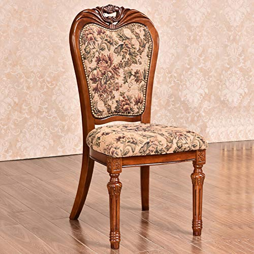 Wohnmöbel Stoff amerikanischen Stuhl Kaffeemaschine Sessel Restaurant Hotel Club Dining Chair Einfache Montage 2-Pack (Farbe : Braun, Größe : 52x50x106cm)
