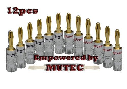 Mutec- SETI di 12 connettori a Banana placcati in Oro 24k, 6 Rossi e 6 Neri