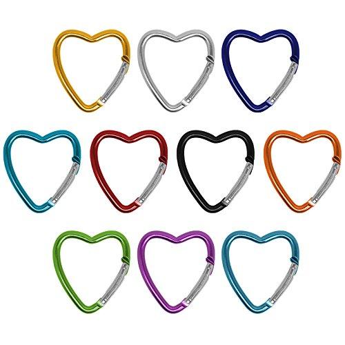 BB Sport 10er Set Materialkarabiner Karabiner Big Heart Schlüsselanhänger Karabinerhaken Zubehörkarabiner, Farbe:bunt