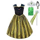 Lito Angels Disfraz de Coronación de Princesa Anna con Accesorios para Niñas Pequeñas, Vestido de Fiesta de Cumpleaños de Halloween, Talla 5-6 años, Verde