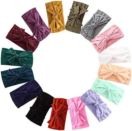 16PCS Baby Nylon Headbands Hairbands Hair Bow Elastics for Baby Girls Newborn Infant Toddlers product image