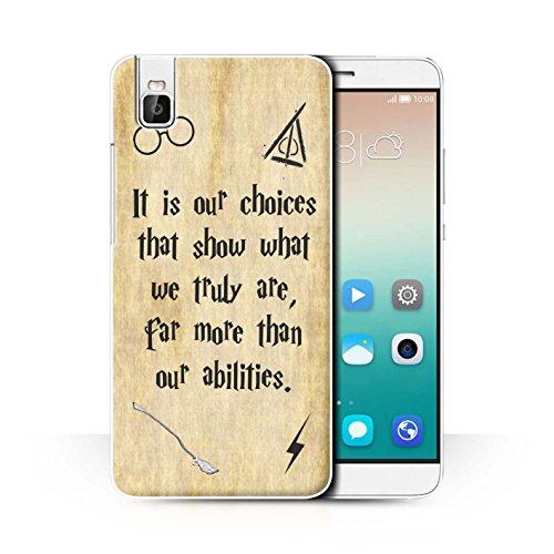 Hülle Für Huawei Honor 7i/ShotX Schule der Magie Film Zitate Choices und Abilities Design Transparent Ultra Dünn Klar Hart Schutz Handyhülle Hülle