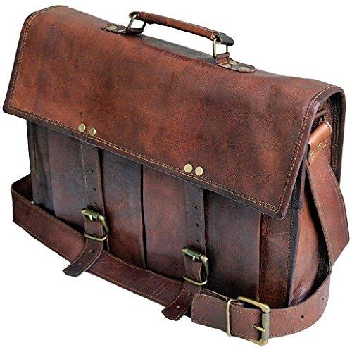 Vintage Handmade Leather Messenger Bag for Laptop Briefcase Best Computer Satchel School Distressed Bag (15 INCH)