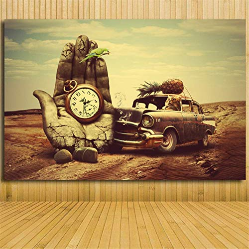 nr Salvador Dali hand klok auto ananas papegaai canvas kunst schilderij print poster voor woonkamer wanddecoratie kunst 50 x 70 cm zonder lijst
