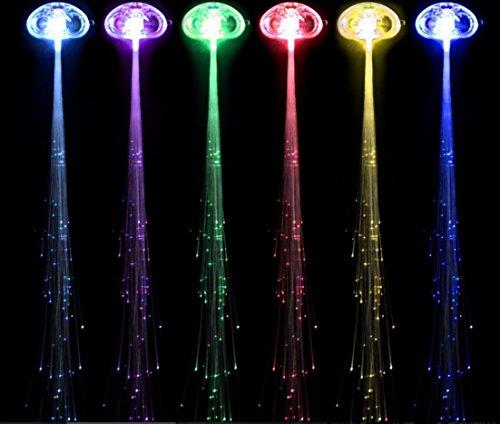 Lot de 6 LED Lumineux Perruque tresses LED Lumineux Fibre capillaire Bijoux lumineux de Noël Coiffe