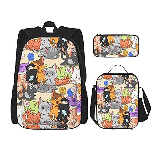 molti piccoli simpatici gatti zaino scuola per bambini, borsa pranzo con astuccio set 3 in 1 sacchetto di scuola