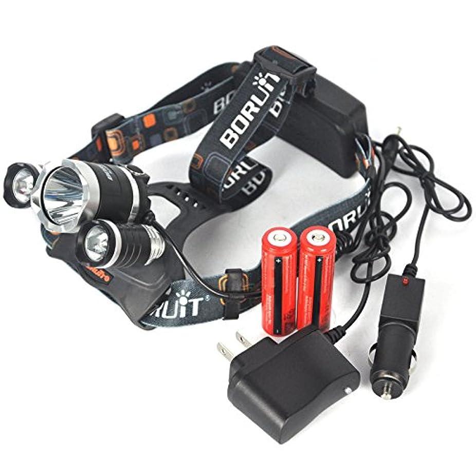 デンマーク語どちらかありそうコスト価格。BORUIT rj-3000?xm-l 3?x t6ヘッドランプヘッドトーチLinterna Frontal 8000ルーメンのヘッドライト2?x充電器+ 2?x 18650?3000?mAh
